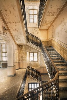 Stairs in an abandoned building. Elegant.