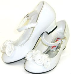 White flower girl shoes. Zoe insists on heels