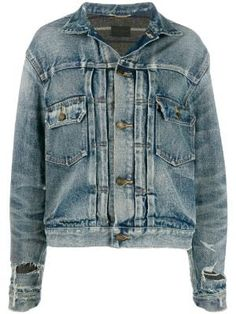 Destroyed Denim Jacket, Yves Saint Laurent, Strapless Denim Dress, Double Breasted Jacket, Chic Outfits, Simple Outfits, Distressed Denim, World Of Fashion, Jackets For Women
