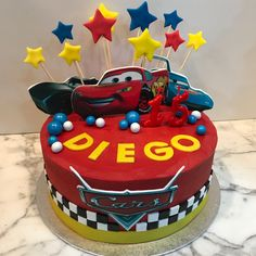 Tarta buttercream Cars. Cupcakes, Birthday Cake, Cars, Desserts, Food, Fondant Cakes, Lolly Cake, Candy Stations, Cookies