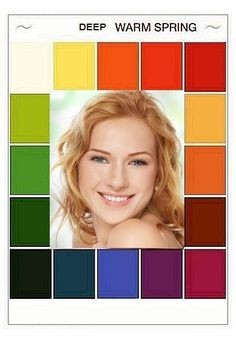 The face is  adopted from a preetyyourworld.com website Clear Spring, Light Spring, Warm Spring, Deep Autumn, Warm Autumn, Spring Color Palette, Spring Colors, Seasonal Color Analysis, Spring Girl
