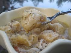 Chicken & Dumplins in the crock pot.. This looks wonderful for a cool, fall day! this just makes it too easy.