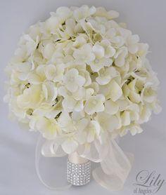 "17pcs Wedding Bridal Bouquet Silk Flower Decoration Package IVORY HYDRANGEAS ""Lily of Angeles"". $209.99, via Etsy."