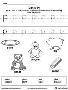 Exceptional **FREE** Words Starting With Letter P Worksheet.Teach The Beginning Letter