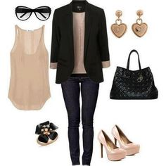 nude and black // #Polyvore #fashion #clothes #style #outfit #jacket #blazer #top #earrings #handbag #heels #shoes #ring #sunglasses #cute #black #beige
