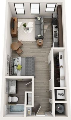 Denah Rumah 775745104549181044 - 15 Best Studio Apartment Layout that Really Work The window is just one of the greatest characteristics and it doubles as a desk. The large windows let in a lot of pure light. Source by nathaliemikalef Studio Apartment Floor Plans, Studio Apartment Layout, Studio Layout, Small Apartment Interior, Small Apartment Design, Studio Apartment Decorating, Small House Design, Small Apartments, Small Spaces