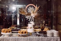 Modern Parker Palm Springs Wedding Cake and Dessert Table