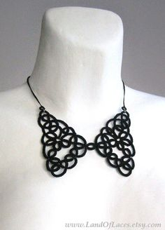 Black lace collar necklace Tatted lace Victorian Peter Pan collar by LandOfLaces