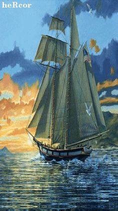Animated Gif by Kevin and Amanda Kennedy Sailboat Art, Good Night Gif, Amazing Gifs, Gif Photo, Magic Eyes, Tug Boats, Beautiful Gif, Set Sail, Tall Ships