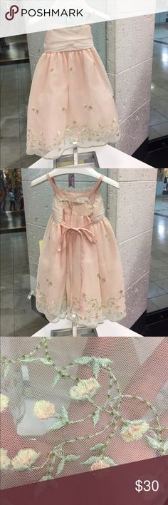 Little Girls special occasion dress Peach and ivory overlay with beautiful crystals and embroidered flowers in peach ,ivory and sage green on bottom and scattered on front and back of dress!Perfect sundress for outdoor wedding or any special party! Brand new , never worn!! Dresses Formal