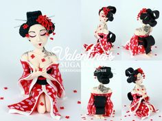 Sugar Paste Geisha - hand made Geisha, Steampunk Dolls, Making Fondant, Cupcake Pictures, Fondant Toppers, Sculpture Clay, Sugar Art, Polymer Clay Crafts, Edible Art