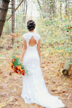 Stunning trailing bridal style with peek-a-boo back | Image by Megan Haley