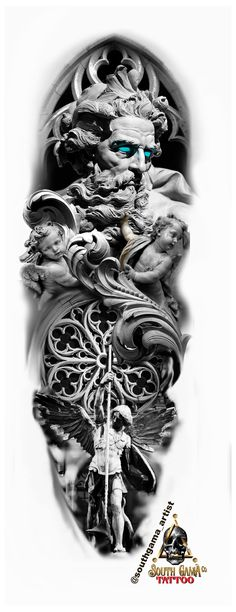 Zeus Tattoo, Poseidon Tattoo, Statue Tattoo, Forearm Sleeve Tattoos, Full Sleeve Tattoos, Tattoo Thigh, Angel Sleeve Tattoo, Angel Tattoo Men, Tattoo Women