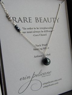 Pearl Necklace Black Pearl // Sterling Silver // Rare Beauty