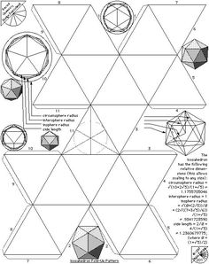 All graphics on this page are from Sacred Geometry Design Sourcebook The Tetrahedron sides) The Hexahedron (a.a cube, 6 sides) The Octahedron sides) The Dodecahedron sides) The Icosahedron sides) Here are Archimedean Solids – Fold Up Patterns Solid Geometry, Sacred Geometry, Geometric Designs, Geometric Shapes, 3d Templates, Platonic Solid, Math Art, Paper Crafts Origami, English Paper Piecing
