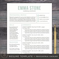 Professional Resume Template Resume Design  Cover Letter Template