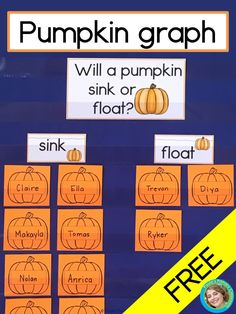 Your students are going to love this fun, FREE pumpkin sink or float graph! Perfect for preschool, kindergarten and first grade, they'll predict and graph, then find the answer with a hands on science activity! You'll love the free printable graph headers Fall Preschool Activities, Preschool Lessons, Sequencing Activities, Pumpkin Preschool Crafts, Halloween Theme Preschool, Preschool Farm, Stem Activities, Kindergarten Lesson Plans, Kindergarten Science
