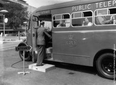 GPO Mobile Call Office unit,  designed to meet emergency needs, parked at the Royal Festival Hall in London 1955