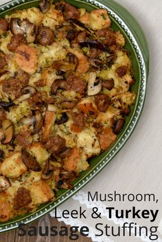 Ambassador Older Mommy Still Yummy loves fall cooking! She shares this recipe for Mushroom, Leek and Turkey Sausage Stuffing. It's warm, hearty and flavourful, making it the perfect side for your next winter meal! Find more recipes at http://www.canadianturkey.ca/recipe-category/featured-recipes/.