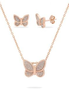 Belk Silverworks Women Rose Gold-Plated Glitter Butterfly Necklace And Earring Set - Rose Gold - One Size