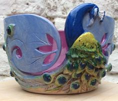 Yarn Bowl Peacock by EarthWoolFire on Etsy