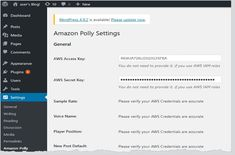 #Wordpress Amazon Polly WordPress Plugin Turns Business's Printed Content Into Spoken Word The launch of the Amazon Polly plug-in for WordPress is going to turn blog posts into spoken audio or podcasts. And it will do this in 47 female and male voices and 30 languages. By integrating Amazon Polly with WordPress,… WordPress  Company - http://www.larymdesign.com
