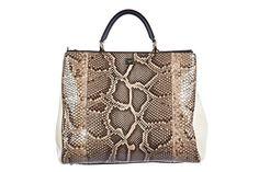 DOLCE&GABBANA women's leather handbag shopping bag purse pitone black