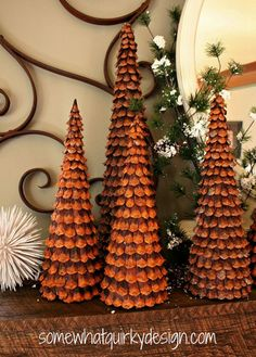 Cone Christmas Trees by Somewhat Quirky Design Oh how I love these Christmas Trees I've made over the years with pine cones.Oh how I love these Christmas Trees I've made over the years with pine cones. Pine Cone Tree, Pine Cone Christmas Tree, Easy Christmas Ornaments, Cone Trees, Noel Christmas, Christmas Projects, Simple Christmas, Pine Cones, Holiday Crafts