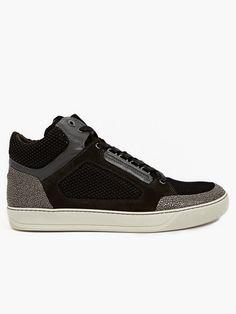 Lanvin Men's Black Suede and Mesh Hi-Top Sneakers | oki-ni