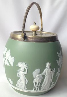 Wedgwood Biscuit Barrel and Lid Green Jasperware in Pottery, Porcelain & Glass, Pottery, Wedgwood   eBay