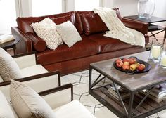 Get first-rate comfort in those slim armrests and deep low seats of the Abington sofa.