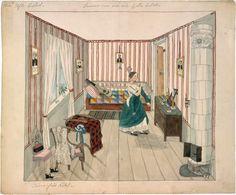 Josabeth Sjöberg - акварельные интерьеры 19 века.