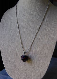 D20 Dice Necklace, Black and Red with Sword Charm