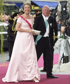 Princess Benedikte and Prince Richard of Sayn-Wittgenstein-Berleburg arrive at Oslo Cathedral for the wedding ceremony; wedding of Crown Prince Haakon of Norway and ms. Mette-Marit Tjessem Høiby, August 25th 2001