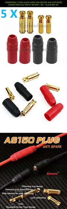 Cheerwing® 5 Pair Amass AS150 7MM 150/200 AMP Anti-Spark Connector Plug For HV Bettery / ESC - Black/Red Set #gadgets #technology #parts #plans #drone #cheerwing #fpv #replacement #camera #shopping #kit #products #parts #tech #racing