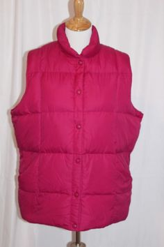 85dcb373afb10 Lands End Womens Down Vest Size 1X 16W-18W Pink Outdoor Snap Up Cold Weather
