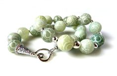Statement Maker Hand Carved Jade Necklace Sterling by MsBsDesigns, $266.00
