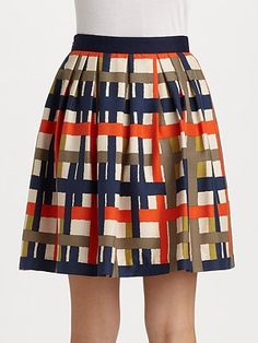 Milly  Madras Plaid Silk Skirt $177.99