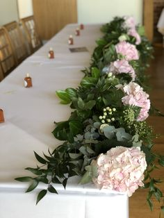 A stunningly elegant top table garland featuring the dreamiest of fluffy pink hydrangeas. Pink Hydrangea, Hydrangeas, Table Garland, Table Decorations, Wedding Top Table Flowers, Reception Rooms, The Perfect Touch, Garlands, Pale Pink