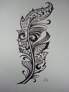Arte-Tattoo: Diseño Tatuaje Pluma I like the Shakespeare line in this