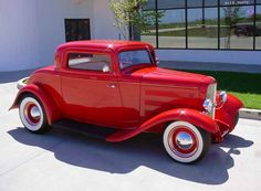 1932 Ford 3-Window Deuce Coupe in Brilliant Red Paint.
