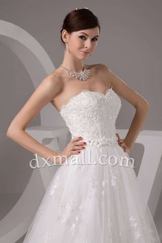 A-line Wedding Dresses Sweetheart Court Train Lace Satin Ivory 010010101908