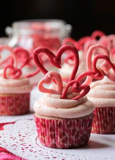 Cherry Buttermilk Valentine's Cupcakes with Cherry Buttercream Frosting