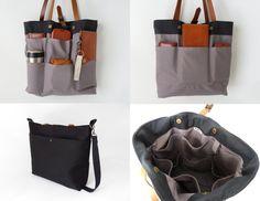BagyBags tarafından BÜYÜK Siyah gri zikzak tote / bebek bezi çantası / omuz