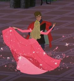 Day 23: Favorite Dance Scene: When Aurora  is dancing with Phillip at the end of Sleeping Beauty.  I love how the Fairy Godmothers keep changing her dress color.