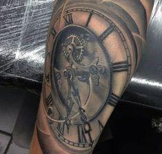 Dusty Grey Pocket Watch Tattoo On Calves For Men