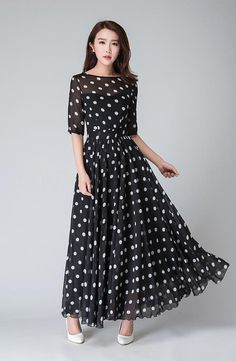 Black and White Polka Dot Maxi Dress, Vintage style Long Swing Chiffon Dress with sleeve, Summer Bohemian Pleated fit and flare dress 1534 Polka Dot Maxi Dresses, White Polka Dot Dress, Polka Dots, Chiffon Dresses With Sleeves, Party Dresses For Women, Summer Dresses, Prom Dresses, Woman Dresses, Summer Maxi