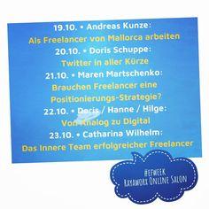 European Freelancers Week @ Rayaworx Online Salon - have a good week! Als Freelancer von Mallorca arbeiten mit Andreas Kunze Twitter in aller Kürze mit Doris Schuppe @doschu Brauchen Freelancer eine Positionierungs-Strategie? mit Maren Martschenko @zehnbar Von Anlog zu Digital mit Lerngruppe VonAnalogZuDigital Das Innere Team erfolgreicher Freelancer mit Catharina Wilhelm @casowi Details & Registrierung für Zoom-Link rayaworx.eu/calendario (Link im Profil) Big THANK YOU for organizing this…