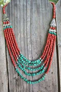 Bohemian Stunning Native inspired bib necklace with Red corals and Turquoise beads Ethnic Boho Chic necklace Layering necklace