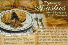 Postcard - Recipe for pasties from Michigan's Upper Peninsula